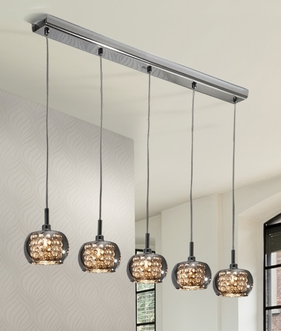 Chrome smoked glass crystal 5 light pendant bar for Ceiling mural in a smoker s lounge