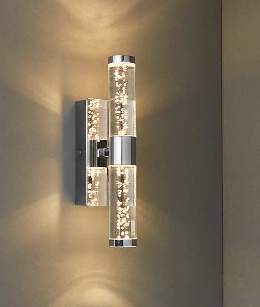 Led Chrome Wall Light With Bubble Effect Detailing