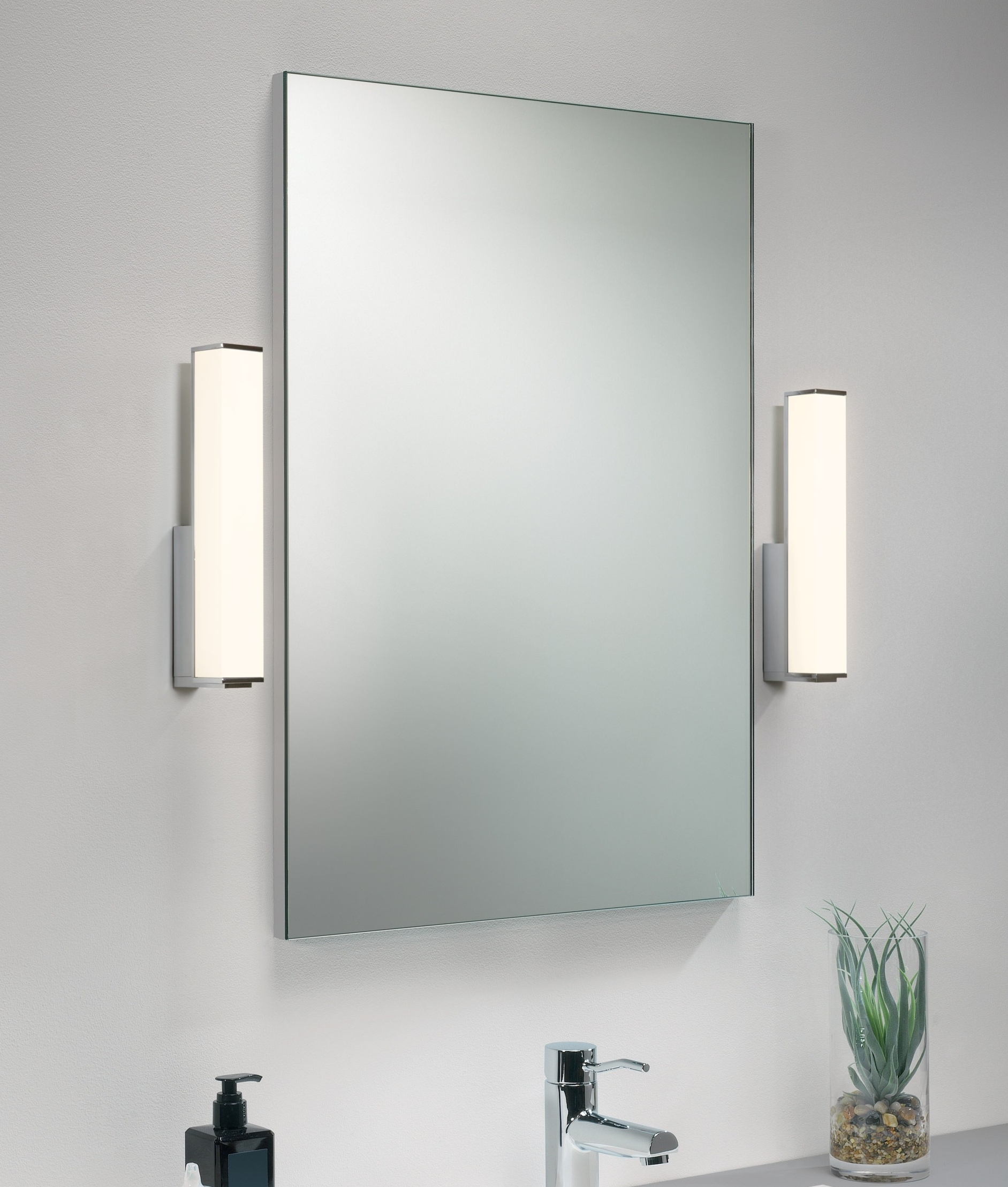 Rectangular Chrome And Polycarbonate Opal Diffuser Wall