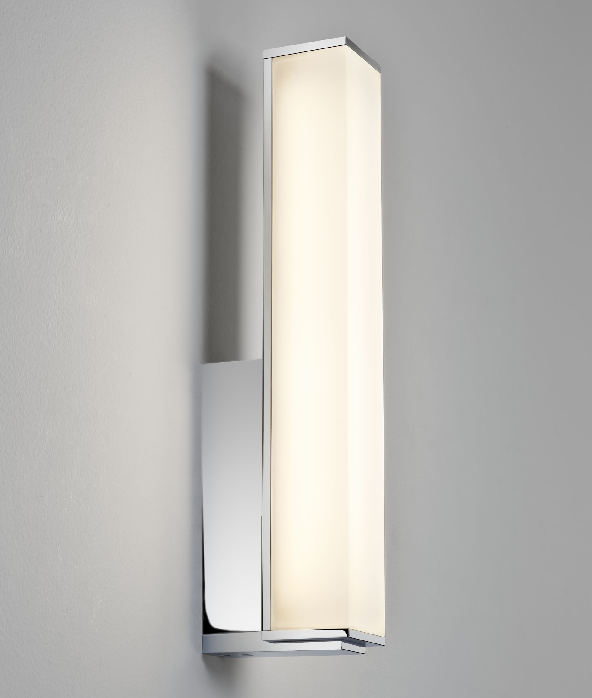 bathroom wall lighting uk rectangular chrome and polycarbonate opal diffuser wall 17122