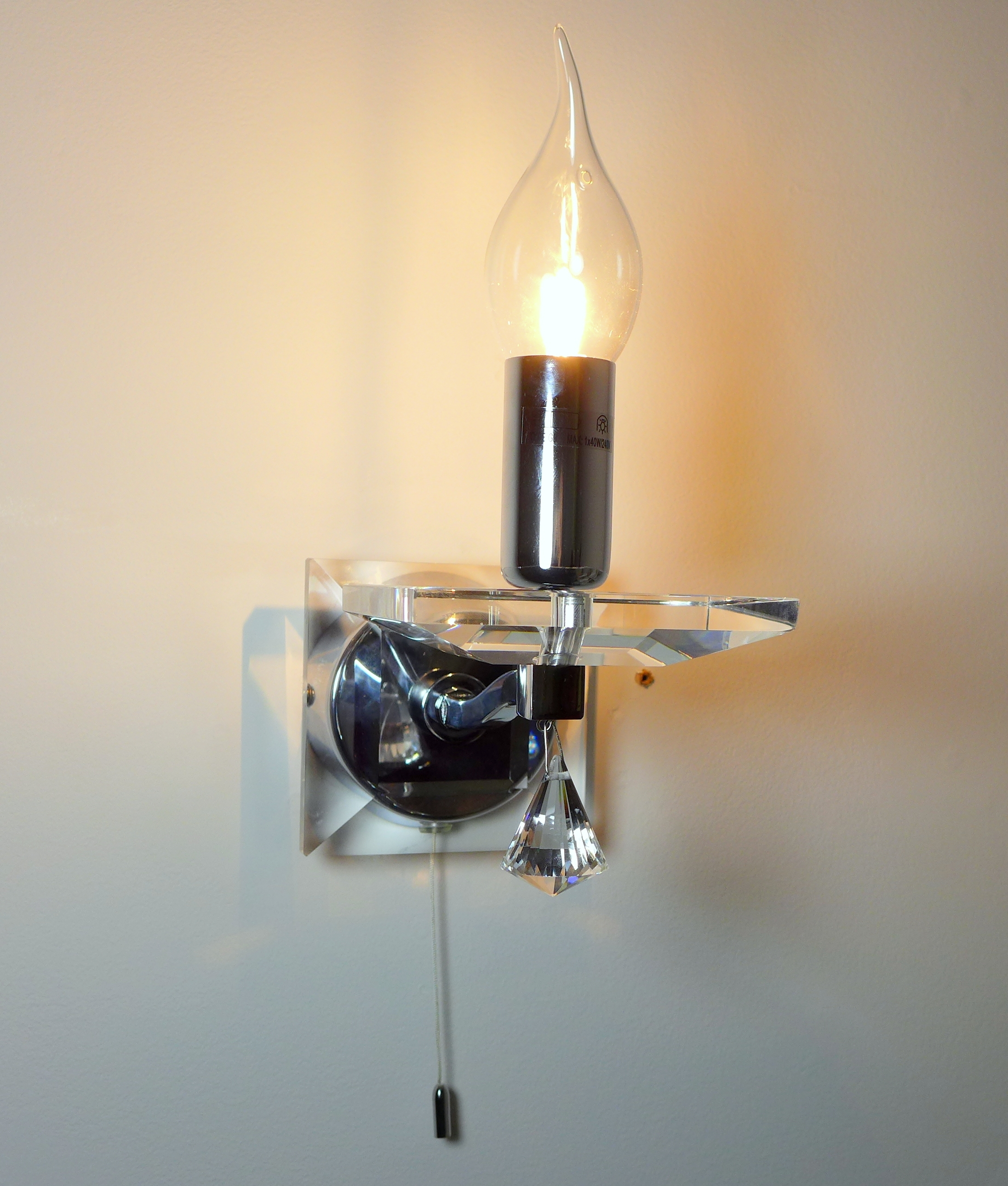 Polished Chrome And Crystal Wall Light With Flame Tipped