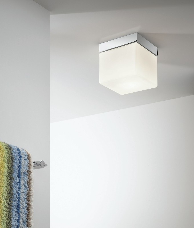 Opal glass cube square ceiling light with ip44 rating matching wall light available aloadofball Choice Image