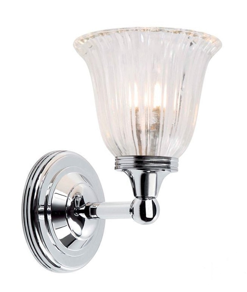 Ip44 Wall Light For Bathrooms With Tulip Shaped Glass Shade
