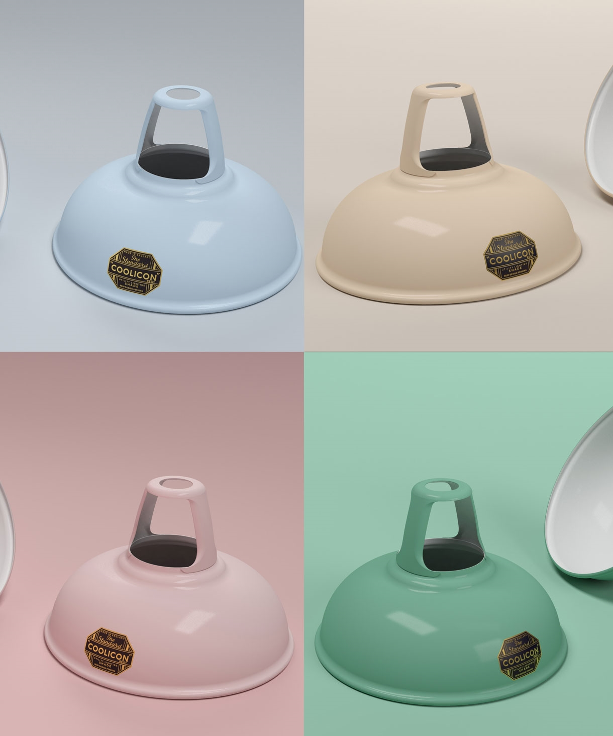 Original Coolicon Enamel Steel Lampshades Pastel Colours