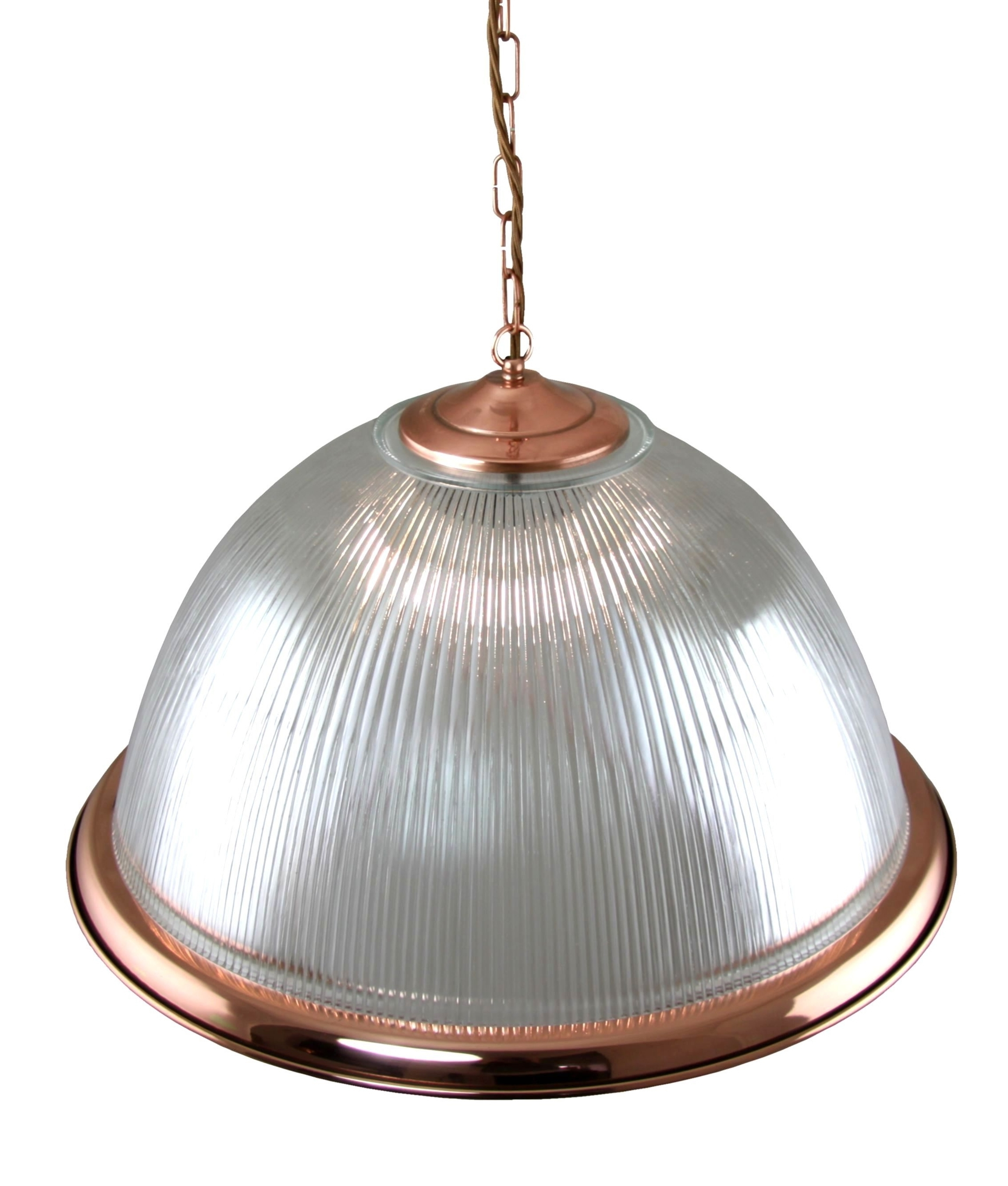 Dome Ribbed Glass Pendant With Copper Detailing In Two Styles