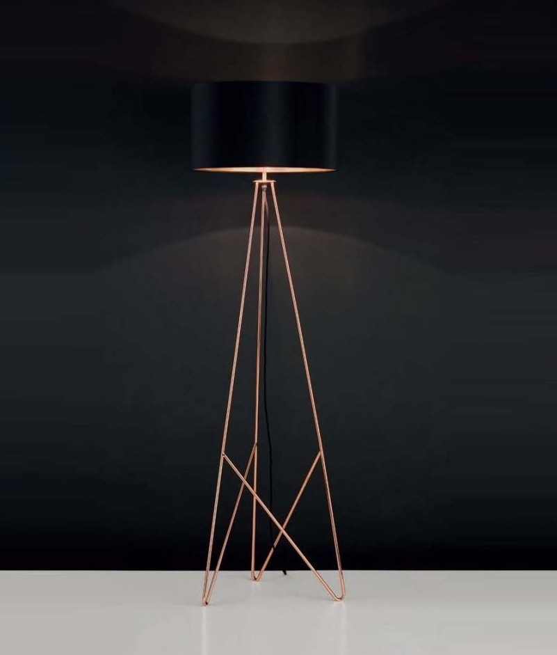 Modern geometric tripod floor lamp with shade available in for Copper camera floor lamp