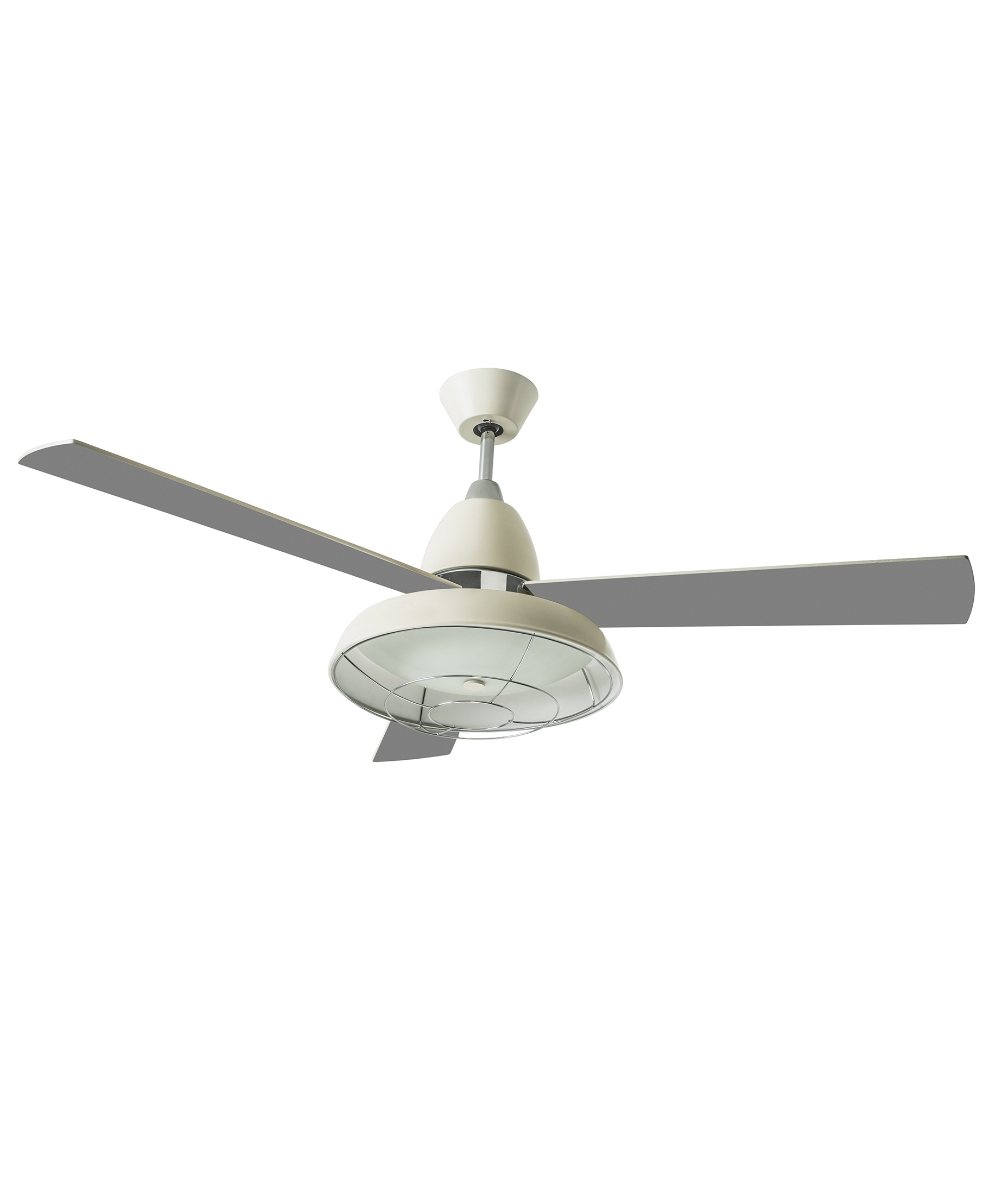 Retro Ceiling Fan with Caged Light in two finishes and