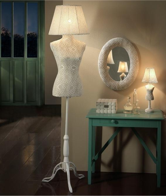 Mannequin Lamp mannequin floor lamp with crochet cream fabric