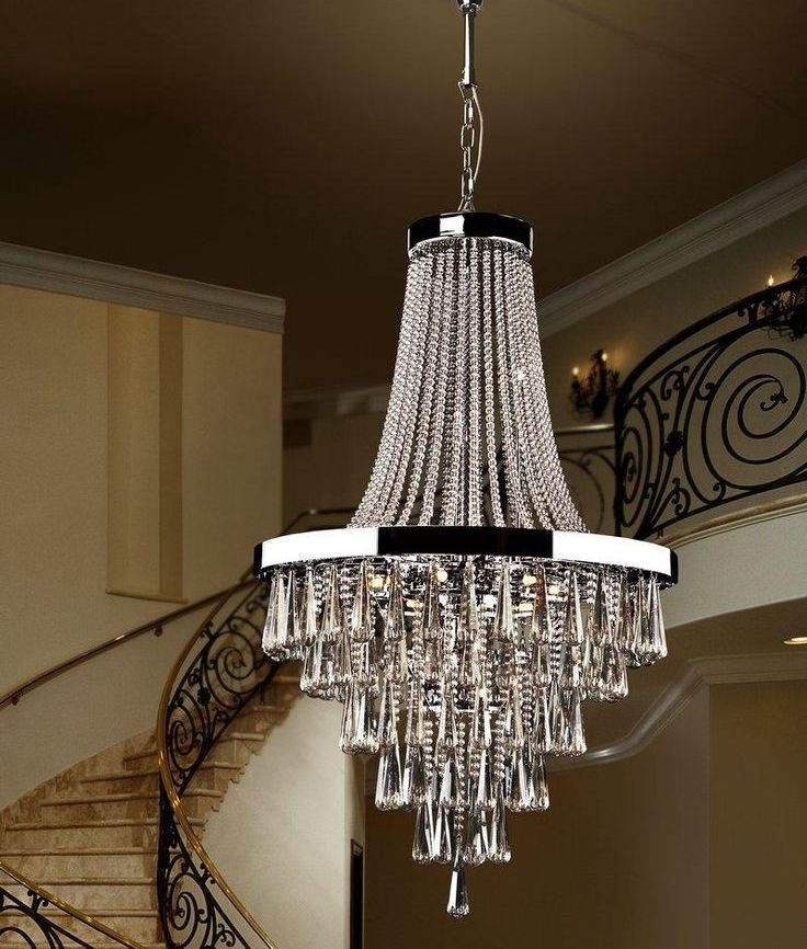 Large Crystal Amp Chrome Pendant For Atriums