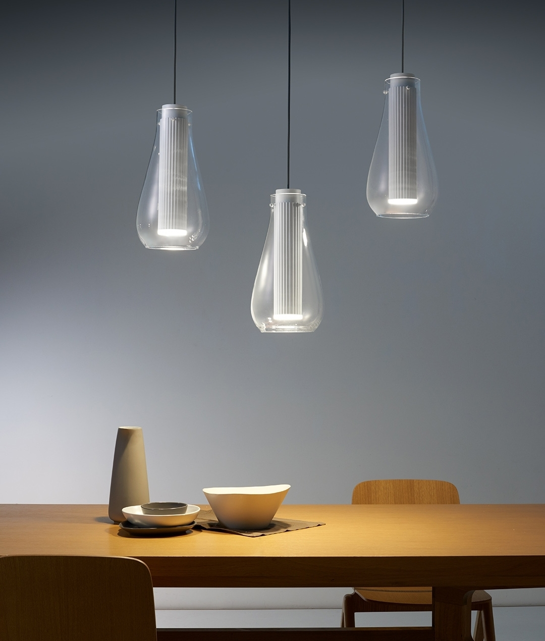 Cylindrical Led Ribbed Design Pendant With Optional Glass