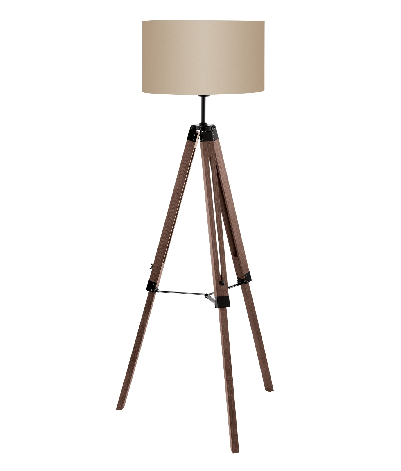 Wooden Tripod Floor Lamp With Large Shade In Two Finishes