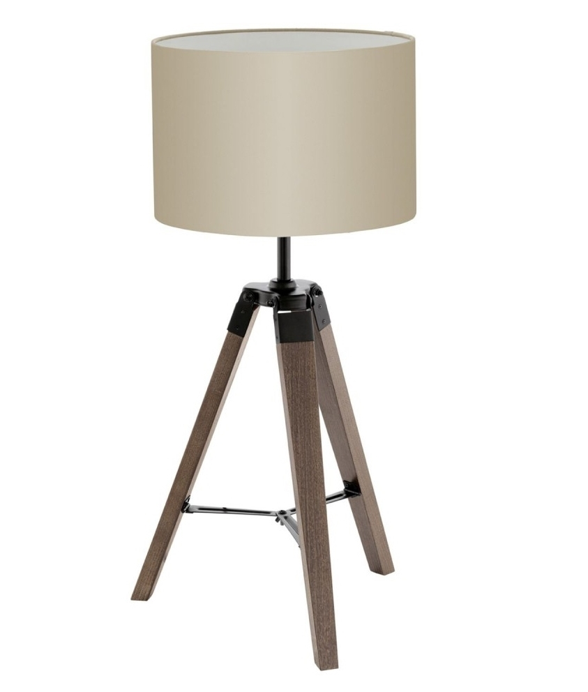 Wooden Tripod Table Lamp With Shade In Two Finishes