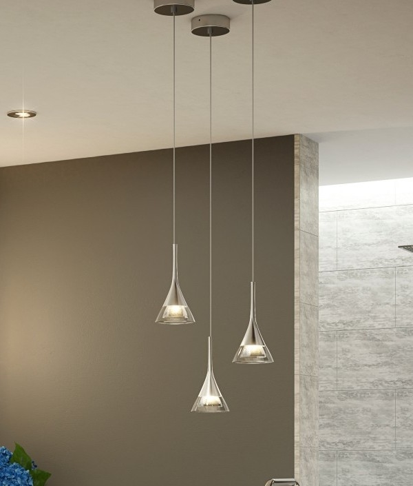 Modern Crystal Glass Led Light Pendant Ip44 Safe For Use In Bathrooms
