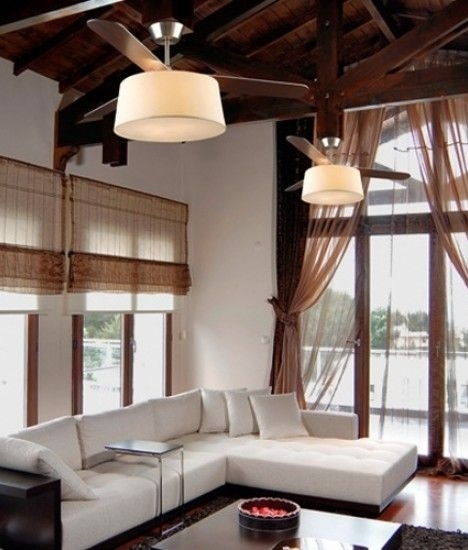 Modern Fan With Lighting Ideas For Contemporary Bedroom: Modern Ceiling Fan With Light And Drum Shade