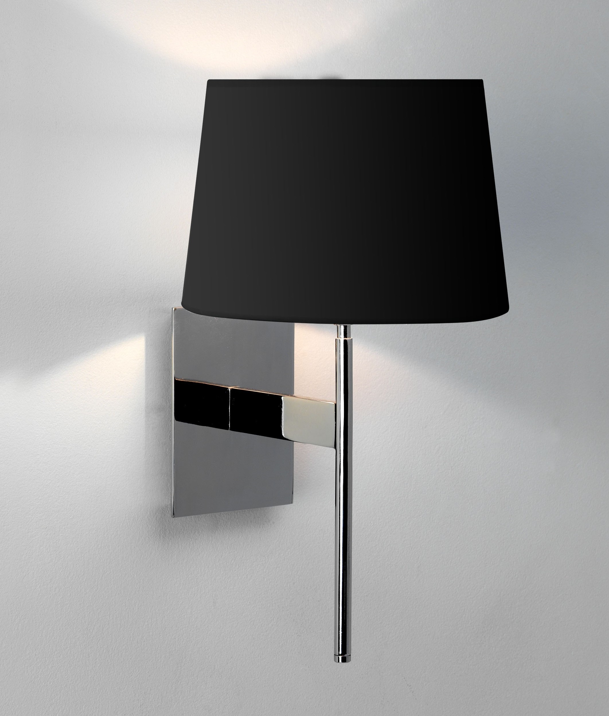 Elegant Long Stem Bracket Wall Light with Fabric Shade