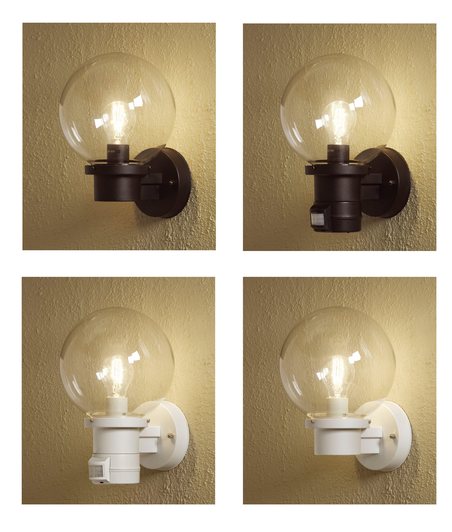 Exterior Globe Wall Lights In Black Or White With Pir And Dusk Til Dawn Sensors