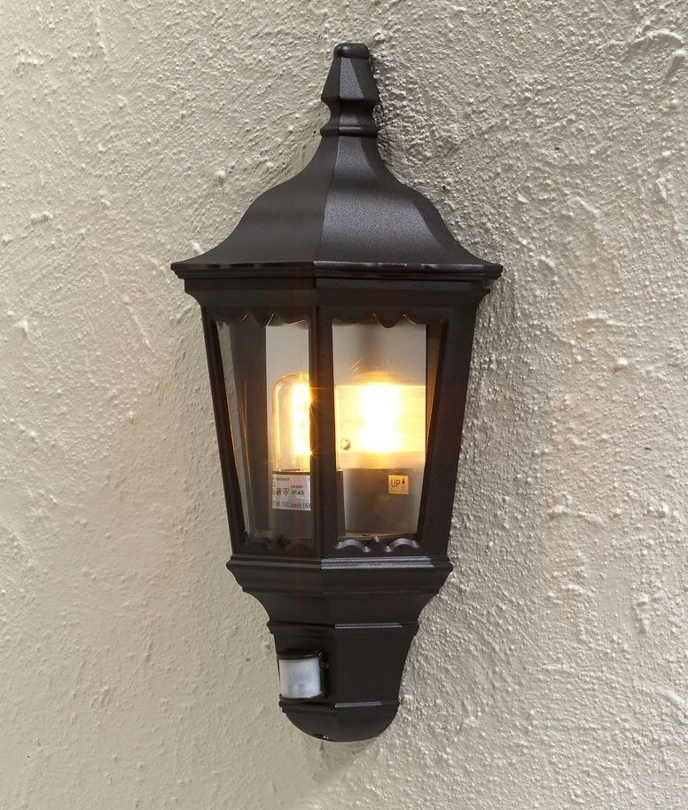 Black Clear Glass Exterior Flush Light PIR