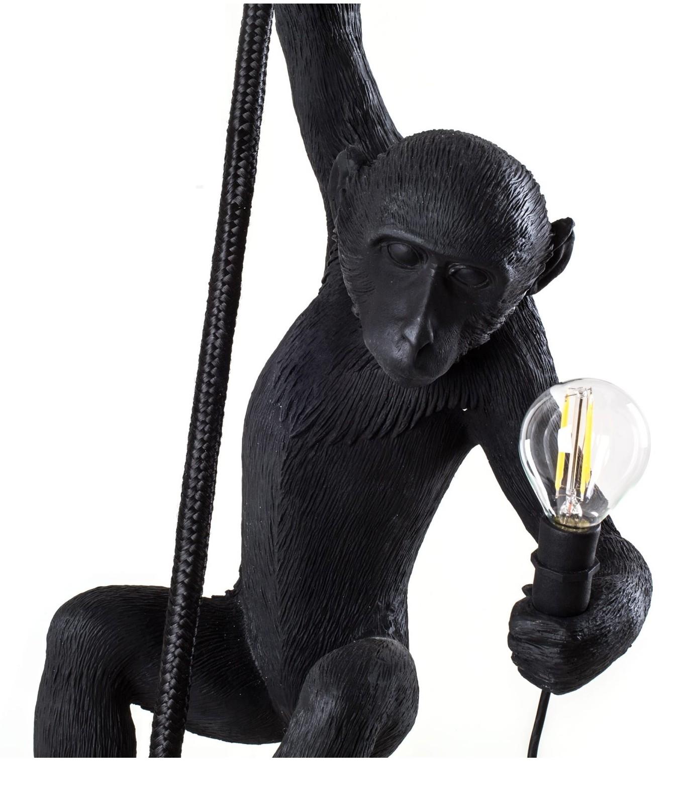 Hanging Monkey Lamp: Exterior Hanging Monkey Pendant With Rope & LED Lamp