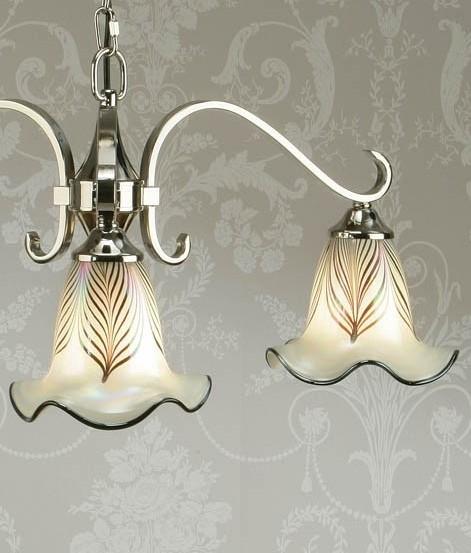 Feathered Glass 3 Light Art Nouveau