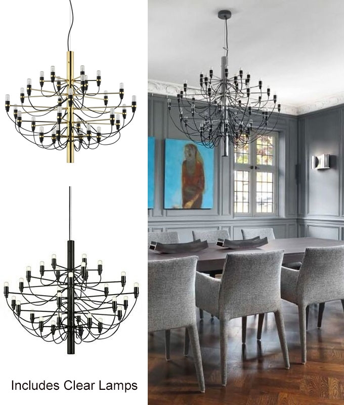 Flos 2097 30 Light Bulbs Iron Suspension Pendant Chandelier By Gino Sarfatti