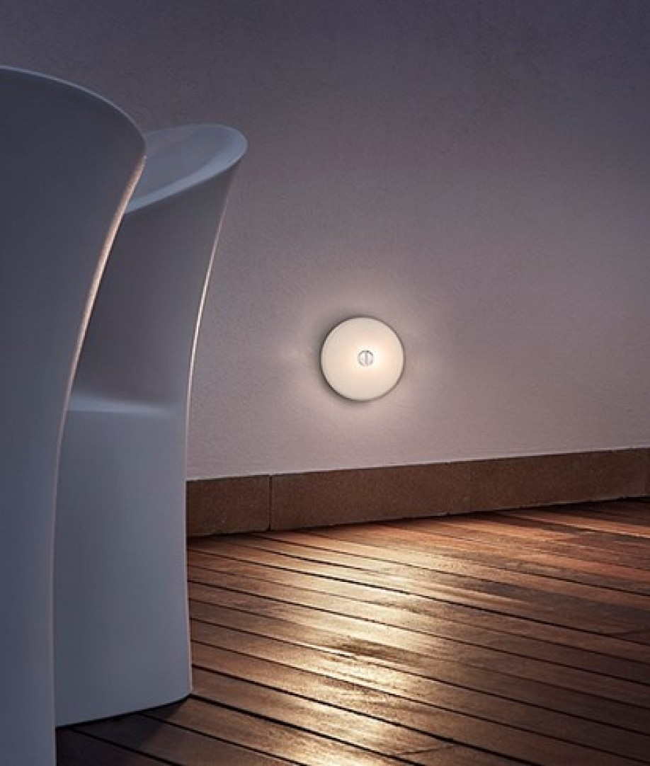 Flos Mini Button Wall Light In White Finish