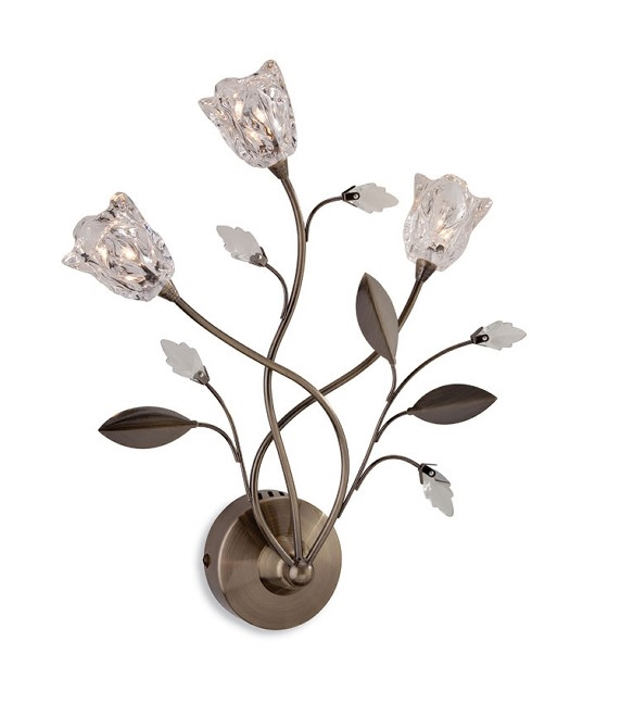 3 Arm Wall Light With Leaf Amp Flower Design