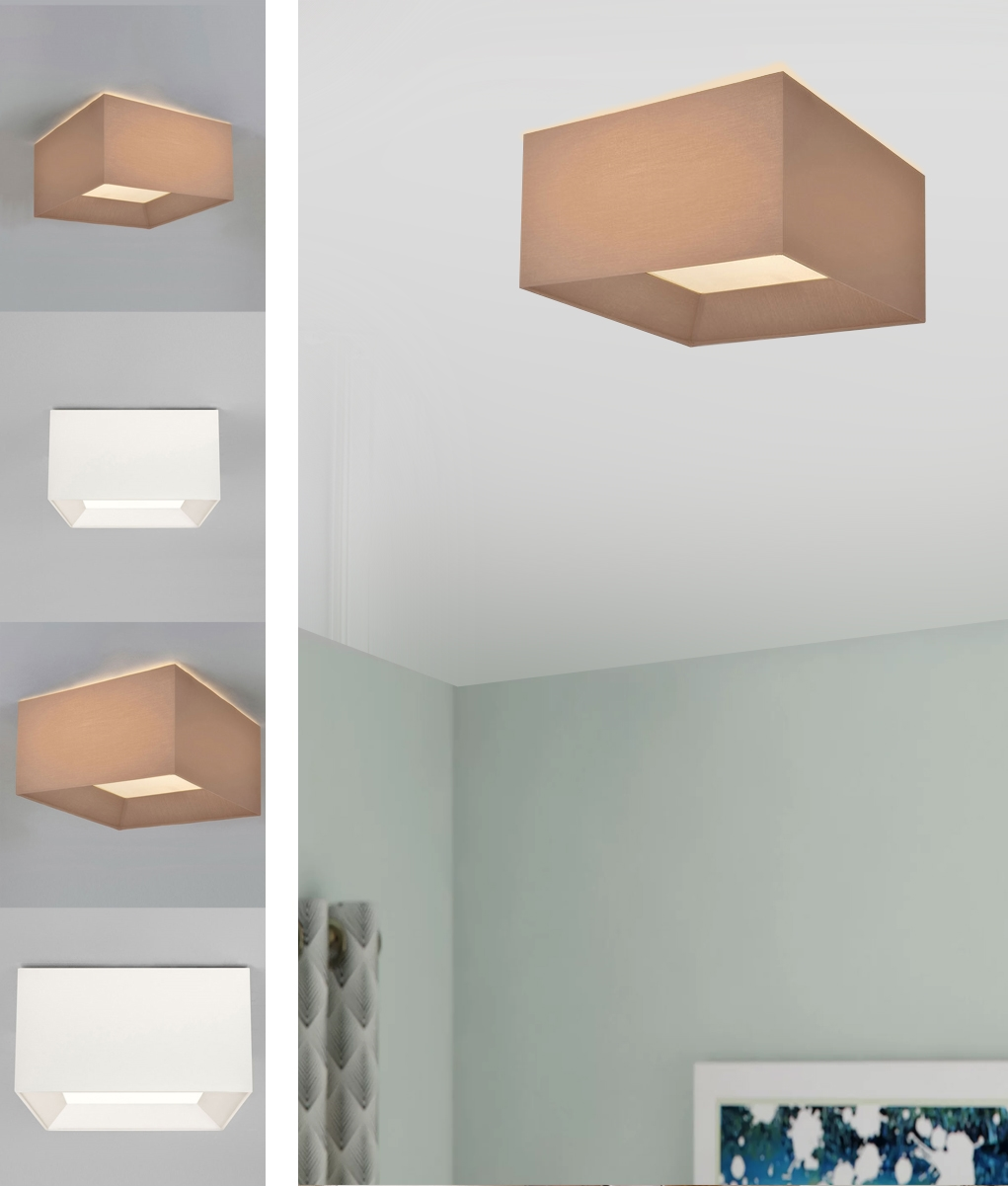 Square Flush Ceiling Light With White Fabric Or Oyster Silk Shades