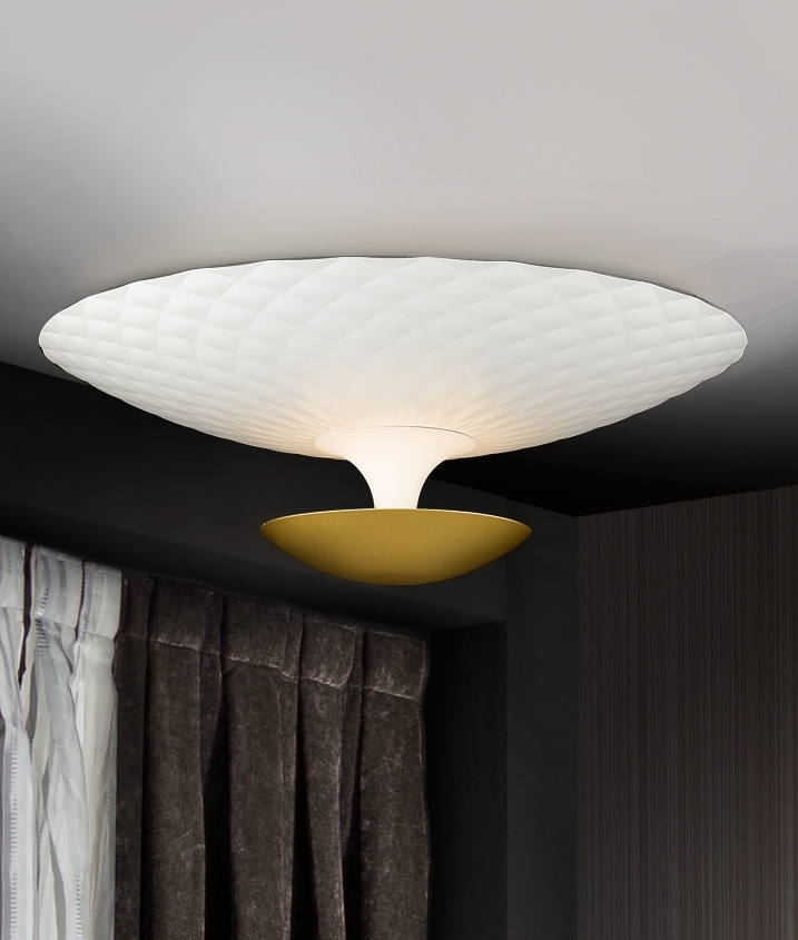White and gold flush ceiling light with indirect light distribution flush ceiling light with indirect light distribution aloadofball Gallery