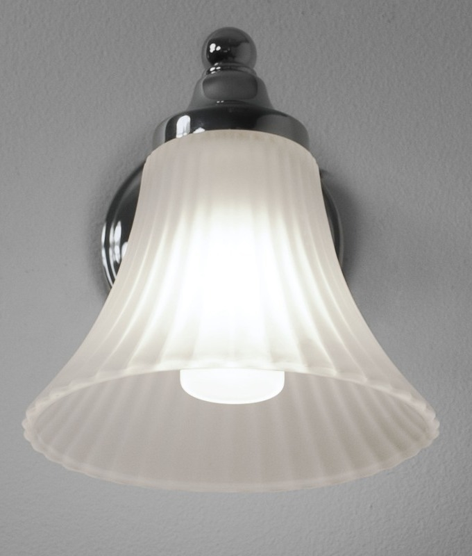 Glass Bathroom Wall Light with Fluted Acid Etched Shade