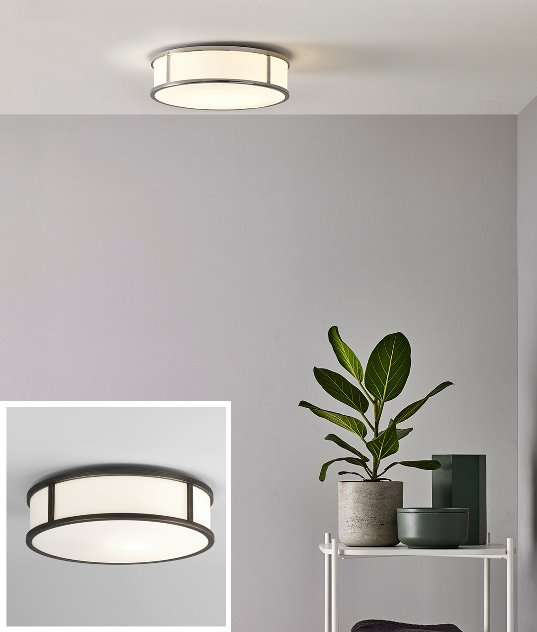 Round Framed Opal Glass Ceiling Light Finished In Chrome Or Bronze Ip44 Designed For The Bathroom