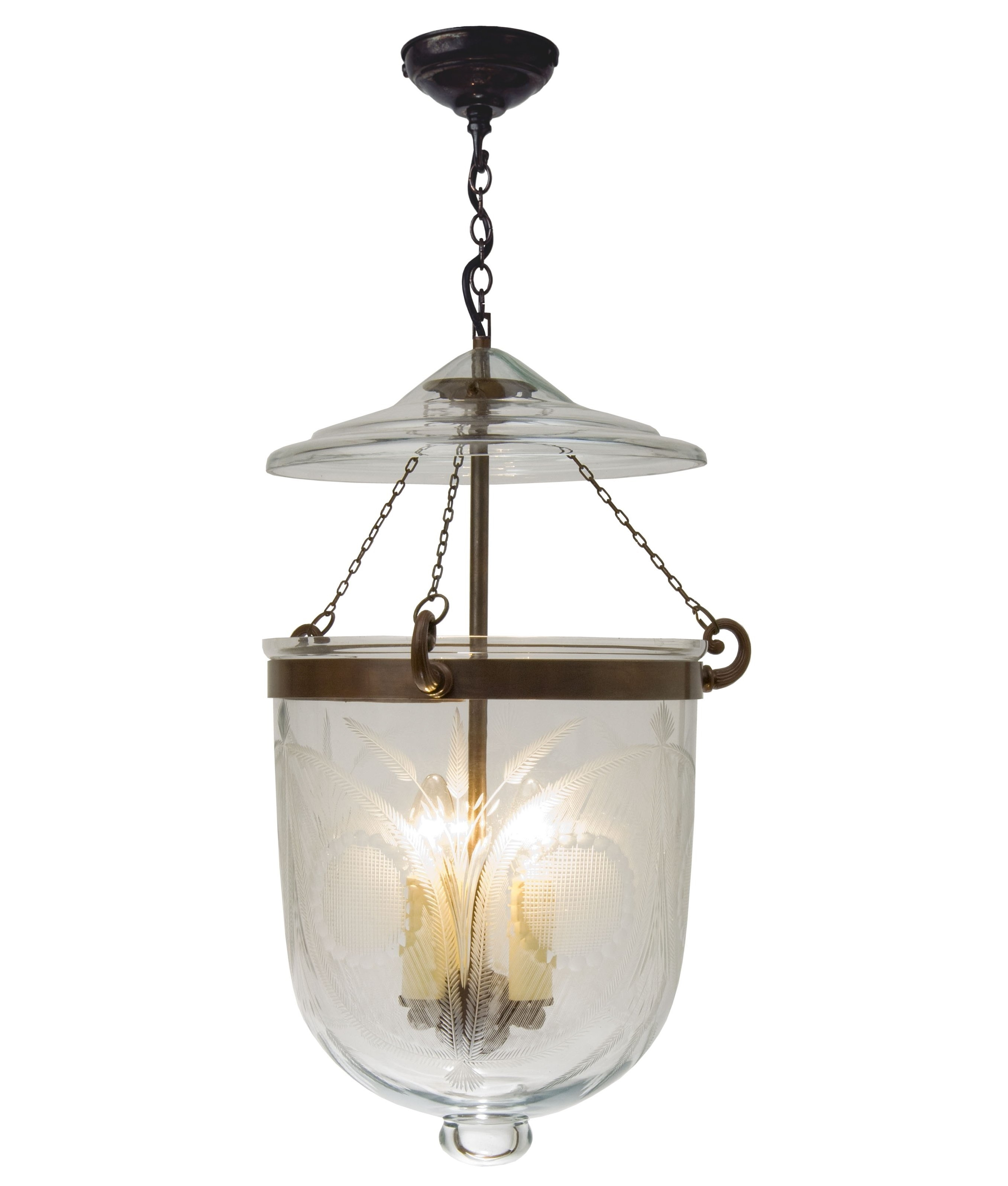 Georgian Lantern With Fern Etched Glass And Measuring 310mm In Diameter