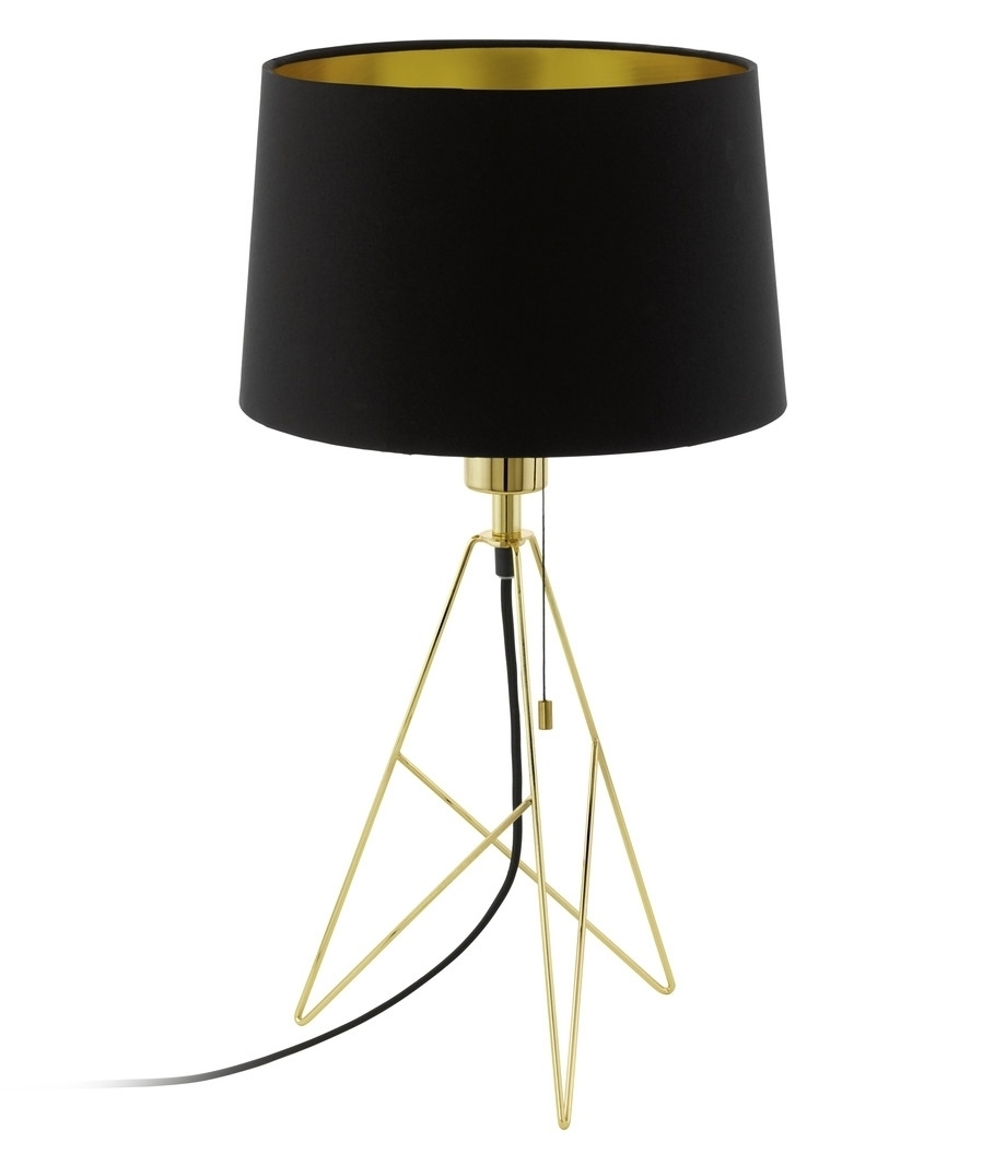 Geometric triangular base table lamp with black shade in either lamp with black shade gold or copper finishes mozeypictures Images