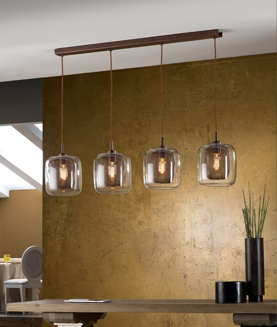 4 Bar Pendants With Chocolate Brown Glass Amp Mesh Detail