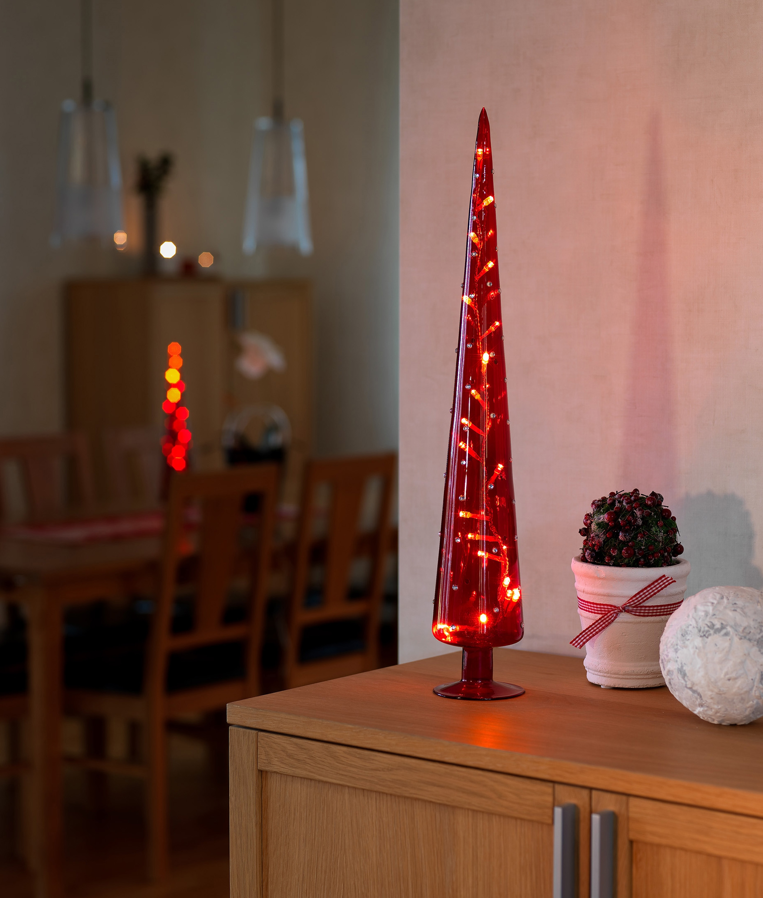 Glass Christmas Tree Cone Shaped With Leds