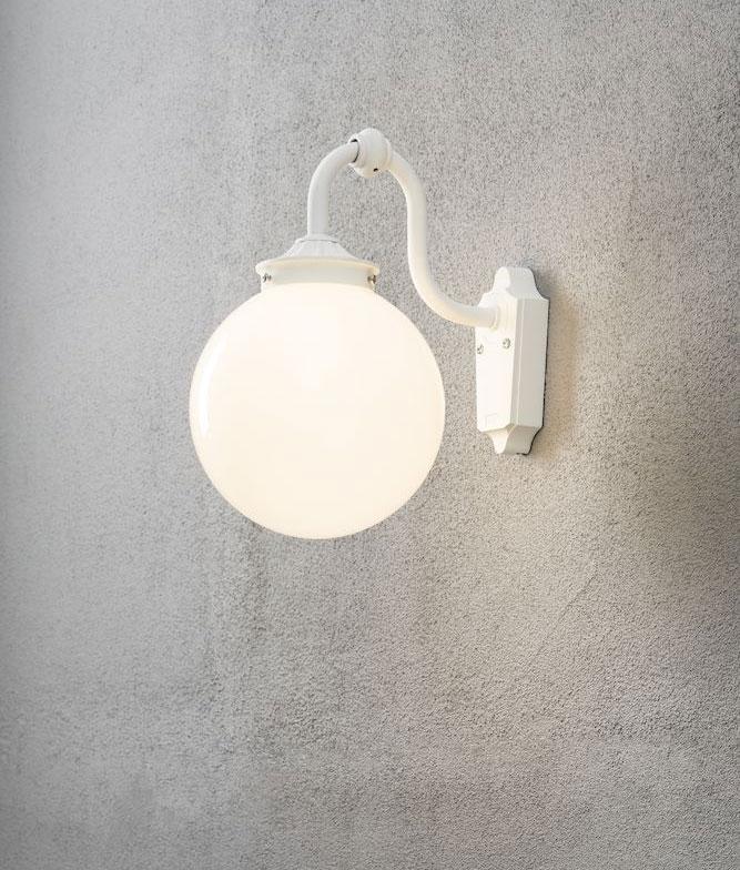 White Opal Glass Globe Wall Lantern Corner Mount Option