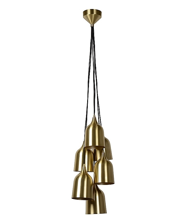Gold Or Copper 6 Light Metal Shade Cluster Pendant
