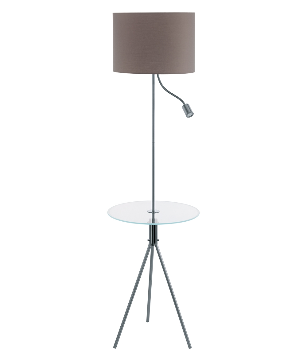 Mother And Child Floor Lamp With Table And Grey Shade