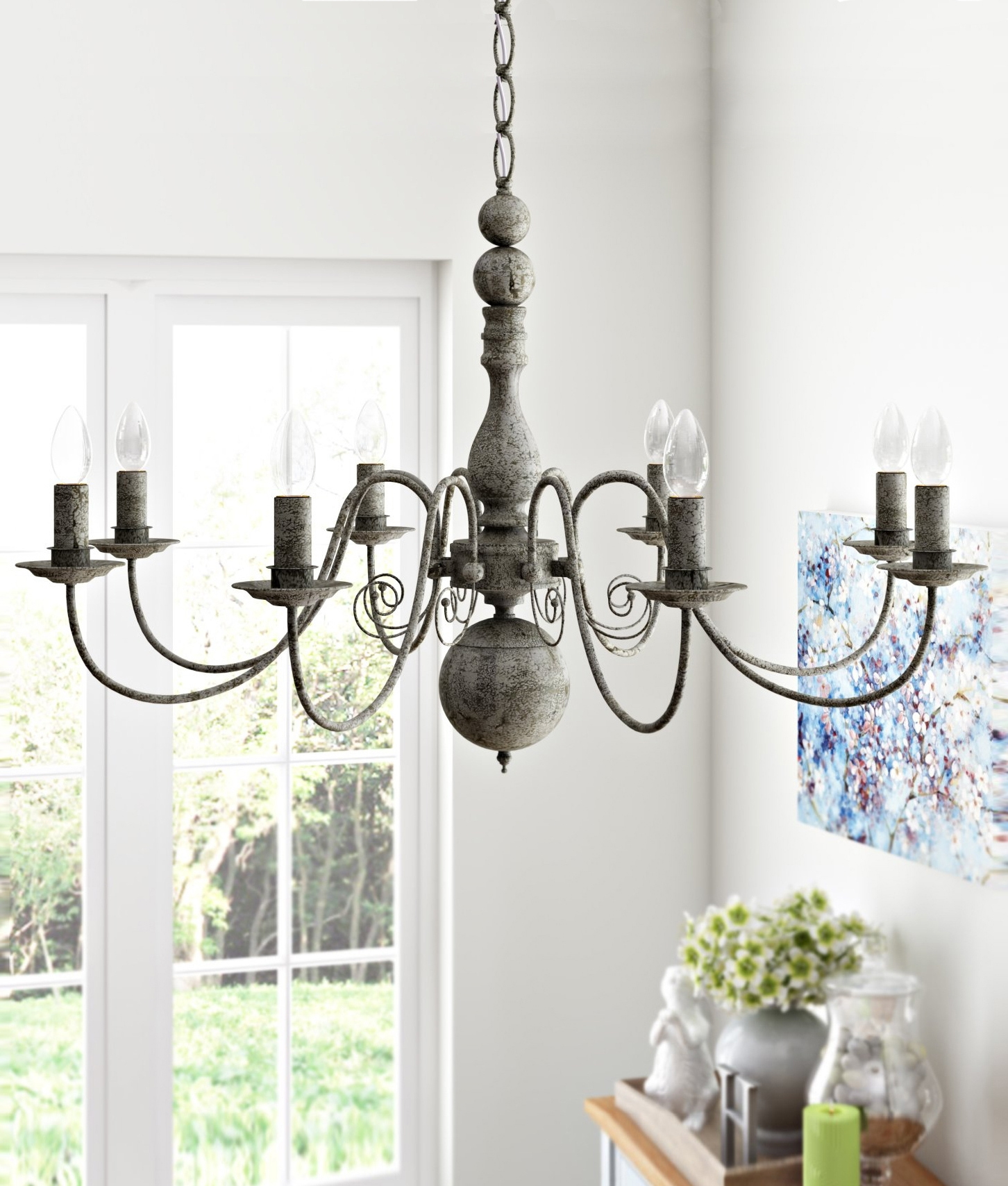 Textured grey flemish chandelier vintage styling vintage textured grey flemish chandelier available as a 5 or 8 arm option arubaitofo Gallery