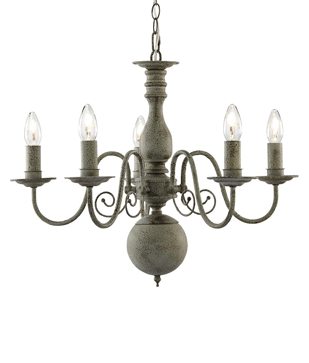 Textured Grey Flemish Chandelier Vintage Styling