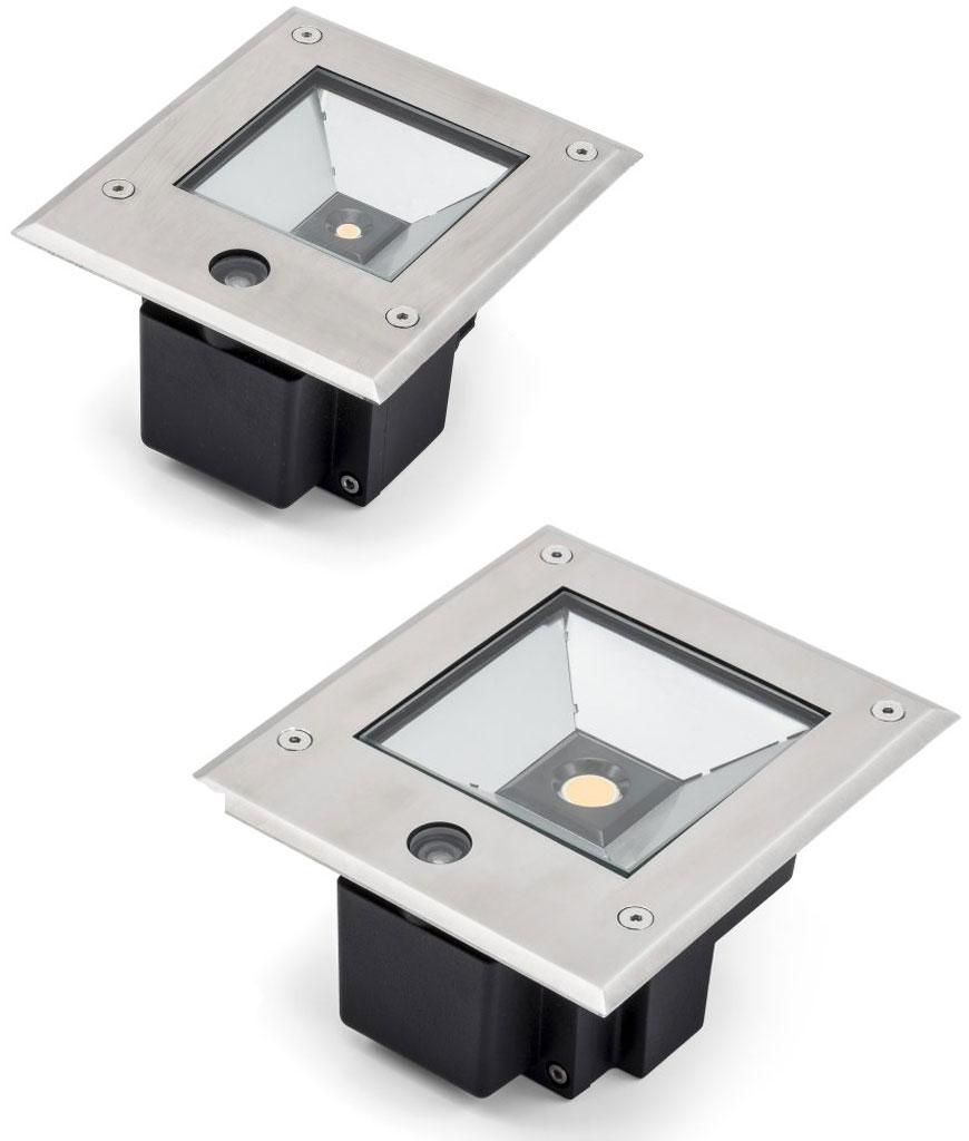 Recessed square LED ground light with integral dusk \'til dawn sensor ...