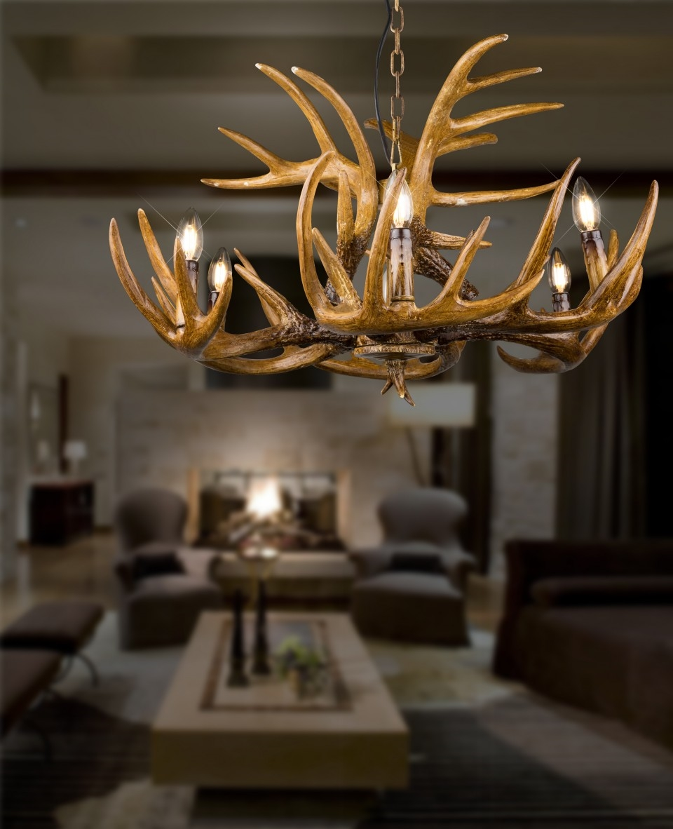 Hunting Lodge Antler 6 Light Chandelier