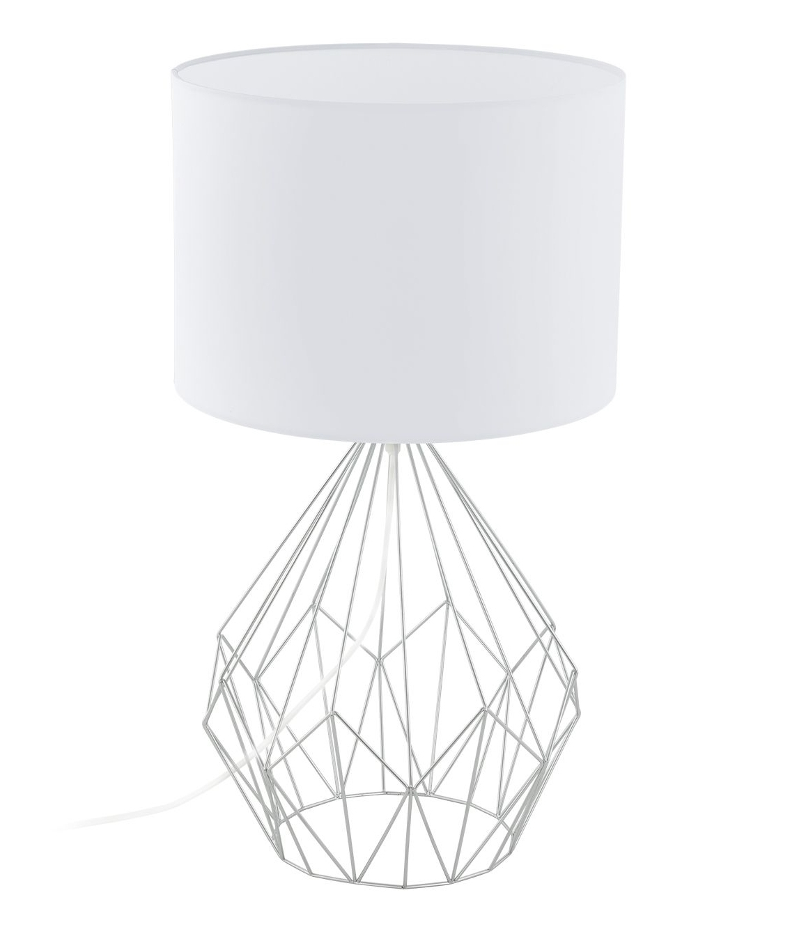 Hexagonal Cage Table Lamp With A Fabric Shade