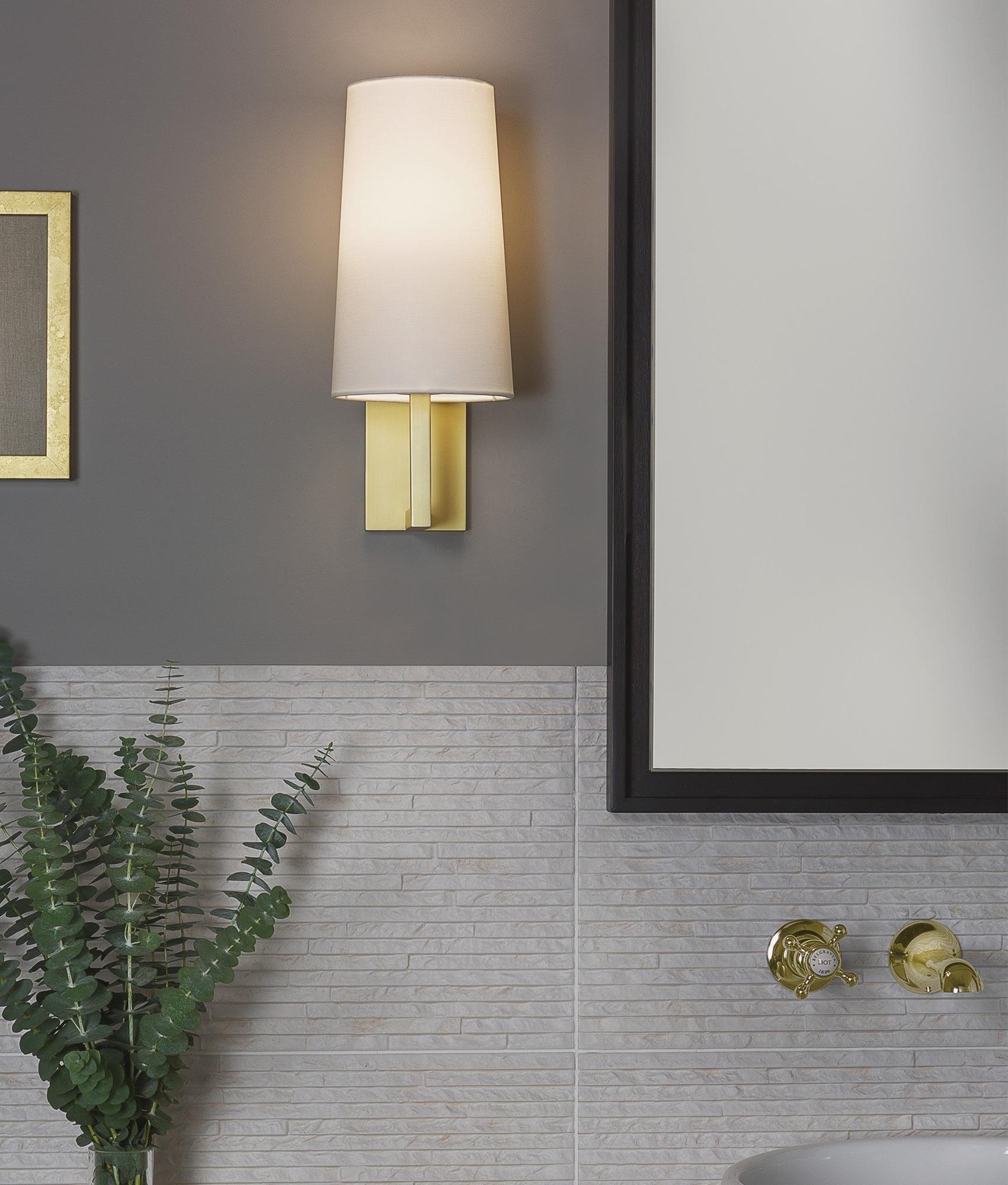 Slim Modern Wall Light With Matt Gold Bracket And Tapered