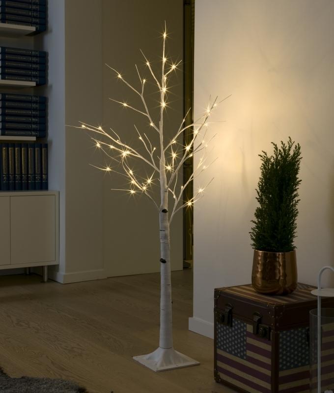 Simple Installation Indoor Illuminated White Birch Tree