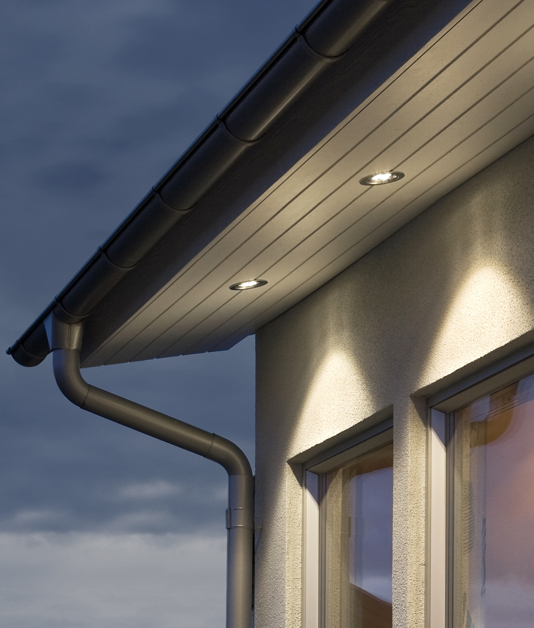 recessed led soffit light in anodised aluminium ip44