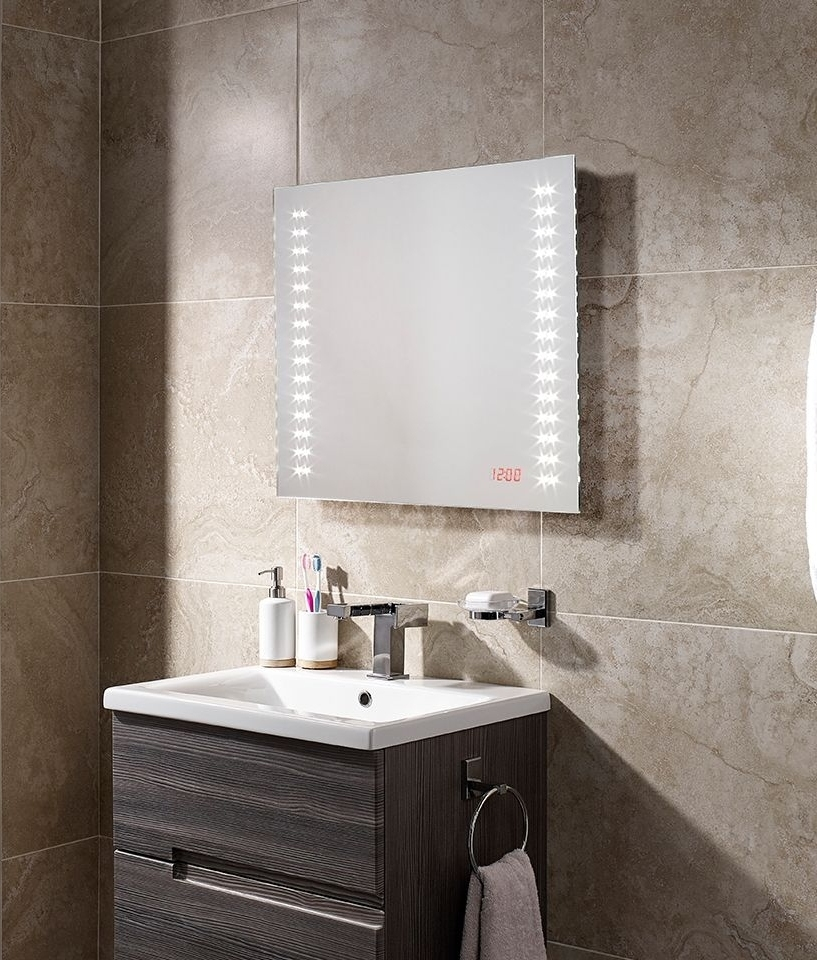 Led bathroom mirror built in led clock 600mm - Bathroom mirrors with built in lights ...