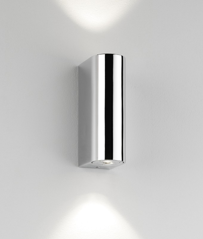 Polished chrome led bathroom wall light for Exterior up and down lights led