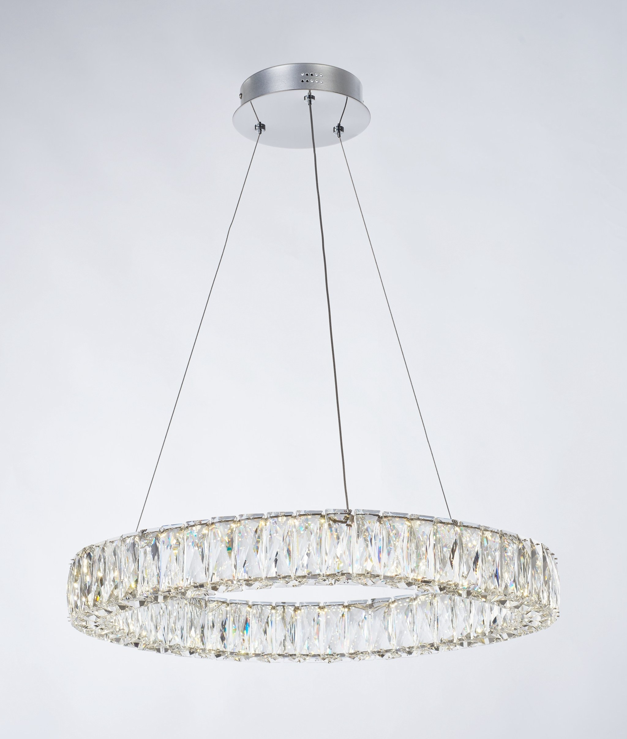 ceiling insulated crystal circle asp chrome double pendant led chandelier clear ring p