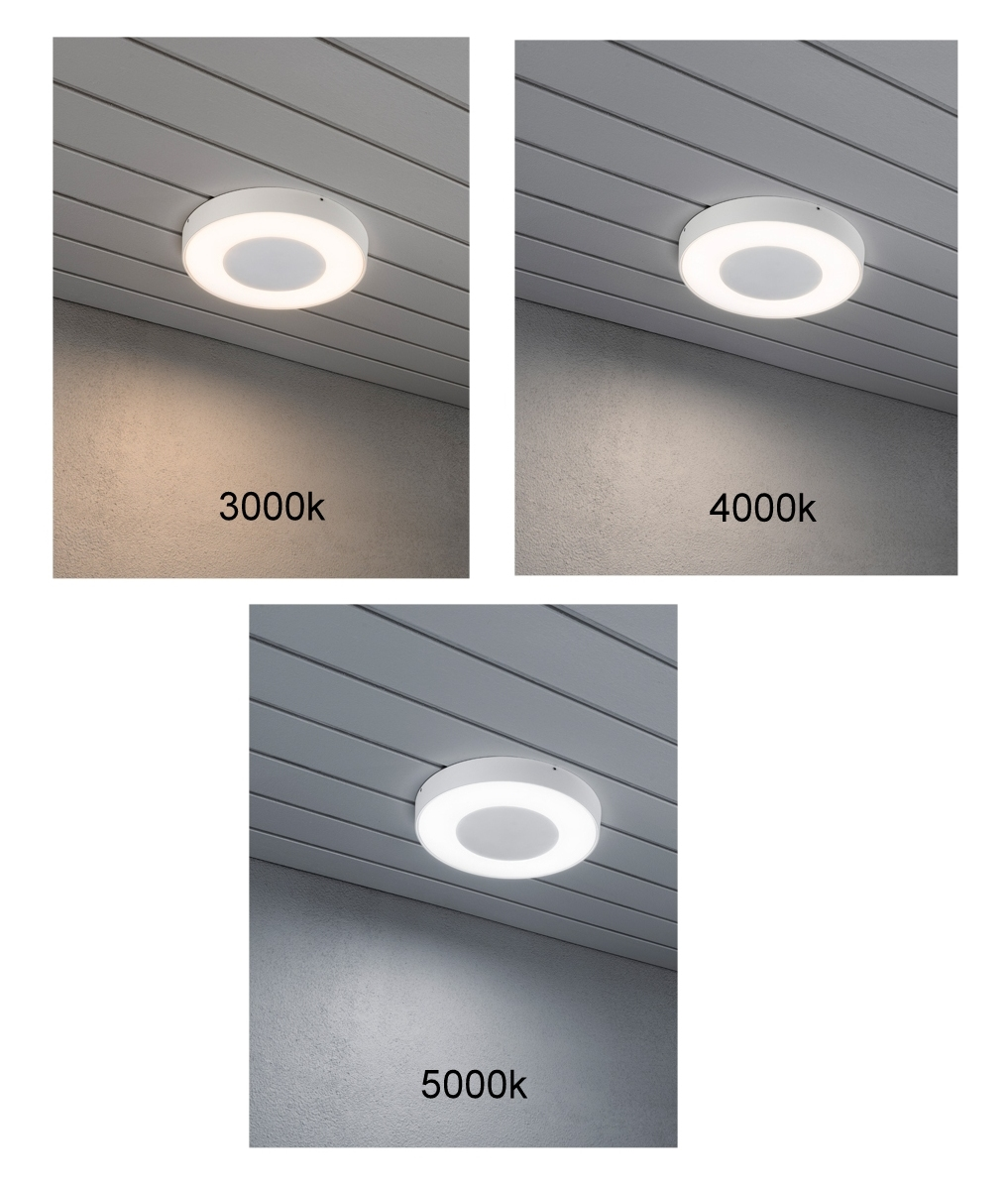 LED ceiling or wall light for exterior use with a remote control