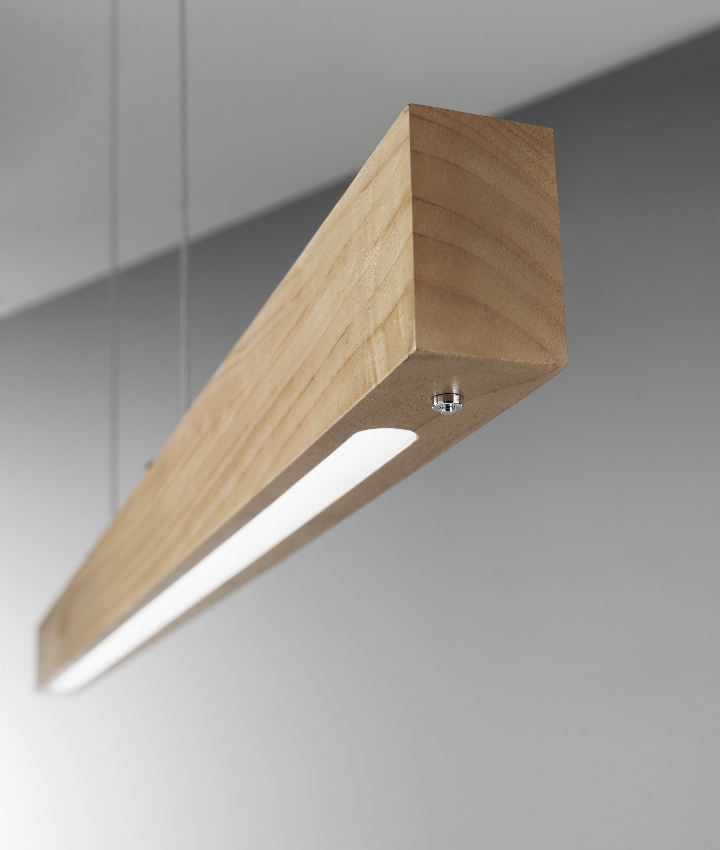 Linear Led Suspended Wood Pendant With Dimmer